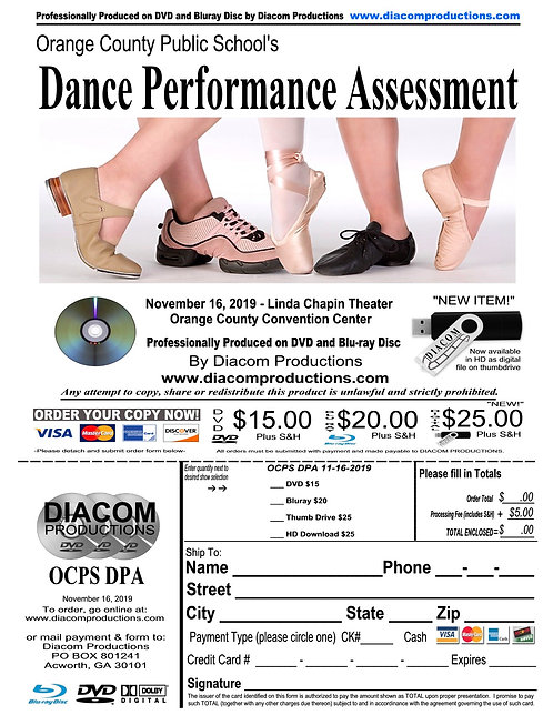 OCPS Dance Performance Assessment - 11/16/19