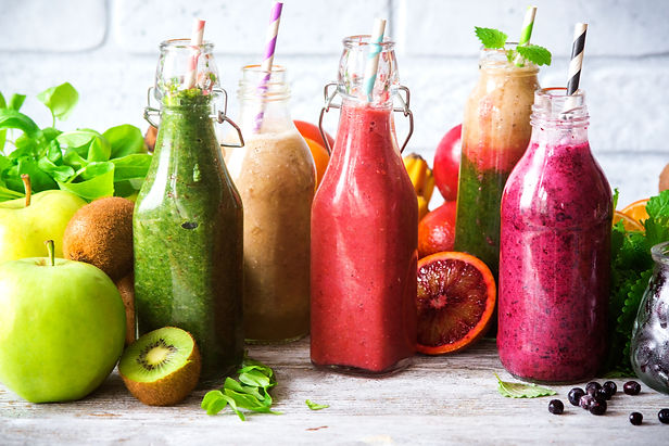 Colorful smoothies : green, purple and r
