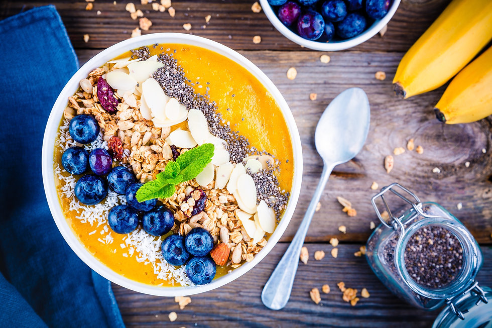 Mango smoothies bowl with blueberries, g