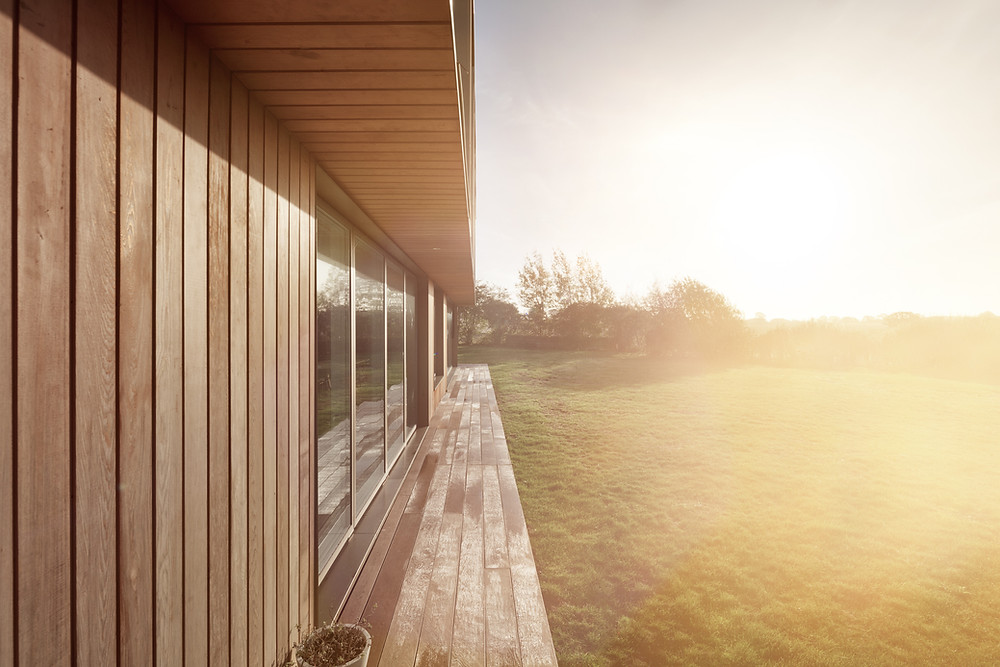 A picture of the external cladding at Stour House.