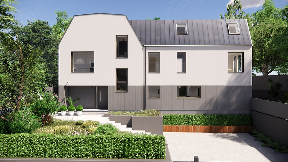 A large, three storey contemporary home with a front garden to the left and parking space on the right.