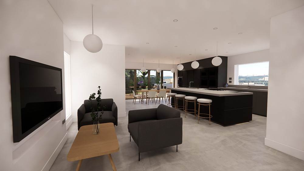 A set of chairs and a coffee table facing a TV to the left, a kitchen island with sink to the right and a dining table in the central space further away.