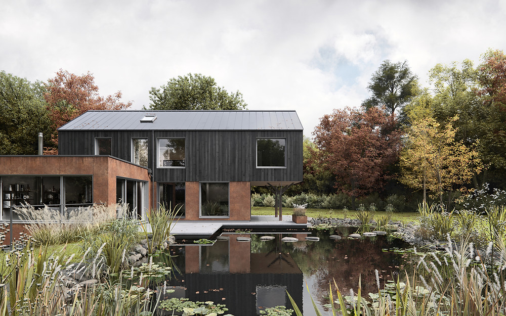 A high quality CGI of Pocketsdell House and the wild swimming pond.