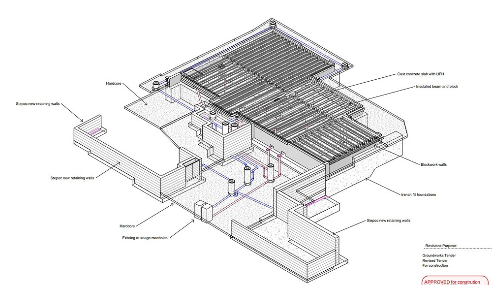 A digital drawing of our groundworks plan.