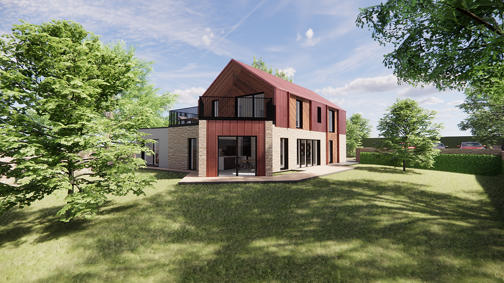 A CGI showing the design for a new home for the planning application.