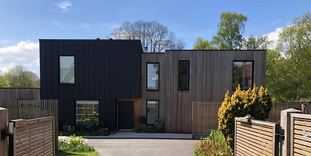 A two tone house facade.