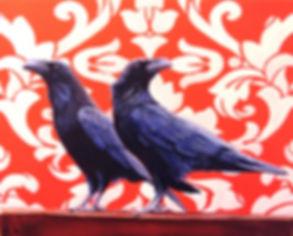 raven, damask, acrylic, painting