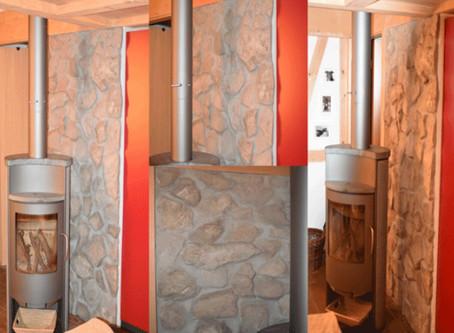 Wandverkleidung mit Natursteinen
