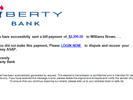 Connecticut's Liberty Bank Customers Targeted in Phishing Attack