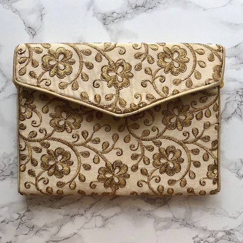 CREAM/ GOLD EMBROIDERED BAG