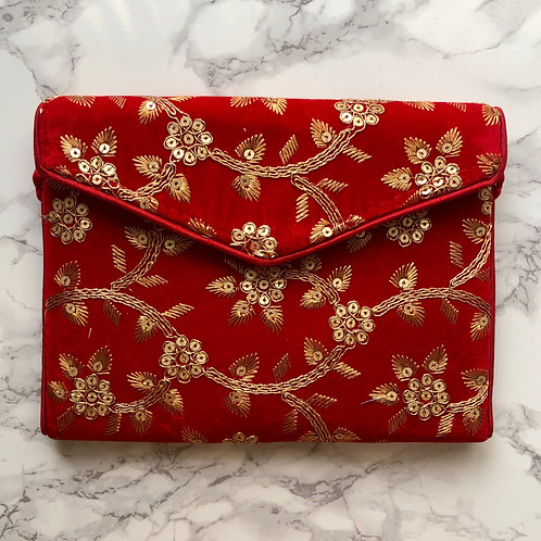 RED/ GOLD EMBROIDERED BAG