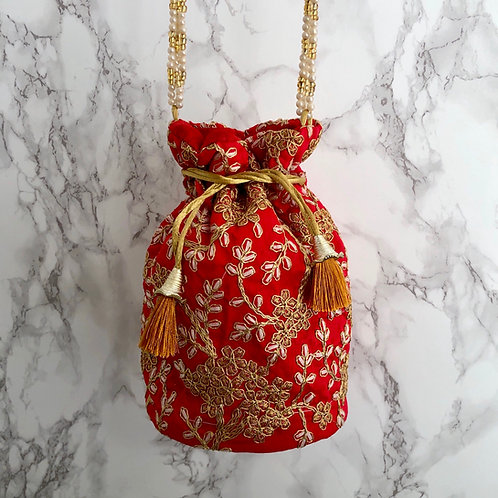 RED/ GOLD EMBROIDERED POTLI BAG