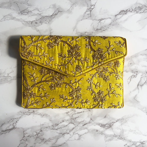 YELLOW FLORAL EMBROIDERED BAG