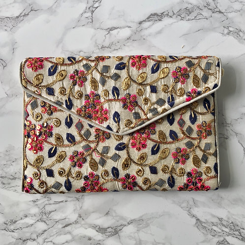 GOLD / PINK / BLUE EMBROIDERED CLUTCH BAG