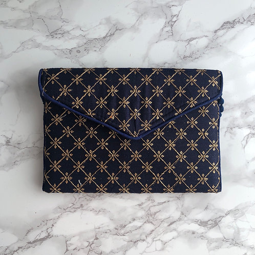NAVY GEO EMBROIDERED BAG