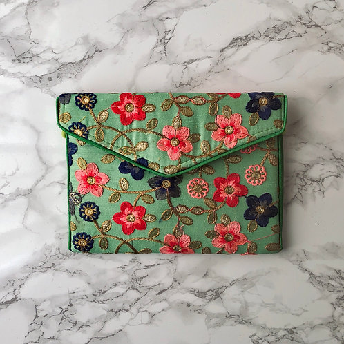 MINT GREEN FLORAL EMBROIDERED BAG