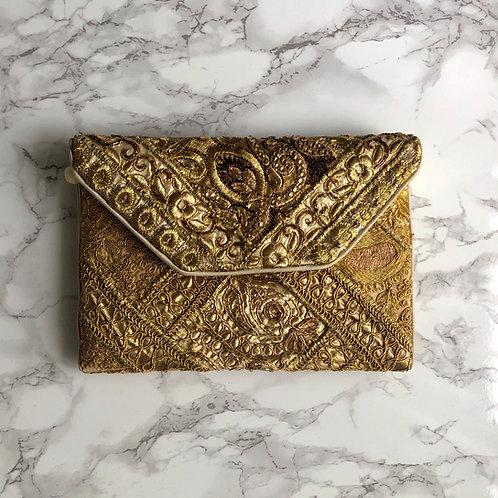 GOLD EMBELLISHED CLUTCH BAG