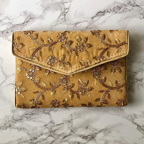 GOLD FLORAL EMBROIDERED BAG