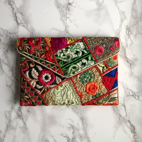 MULTI PATCHWORK EMBROIDERY CLUTCH BAG