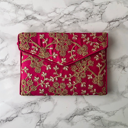 HOT PINK FLORAL EMBROIDERED BAG