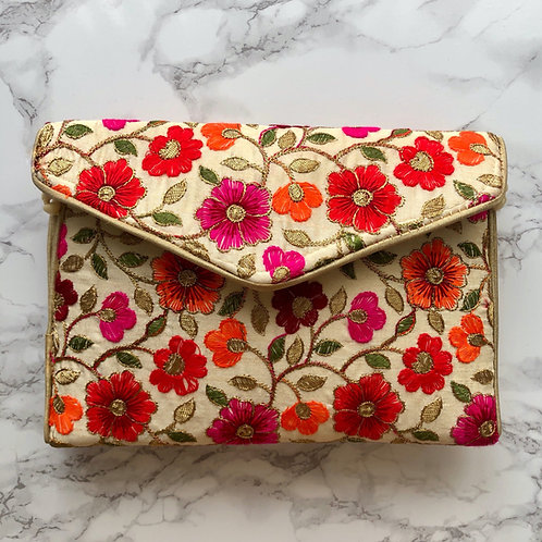 CREAM/ FLORAL EMBROIDERED BAG