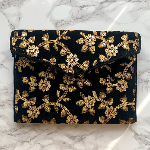 BLACK/ GOLD EMBROIDERED BAG