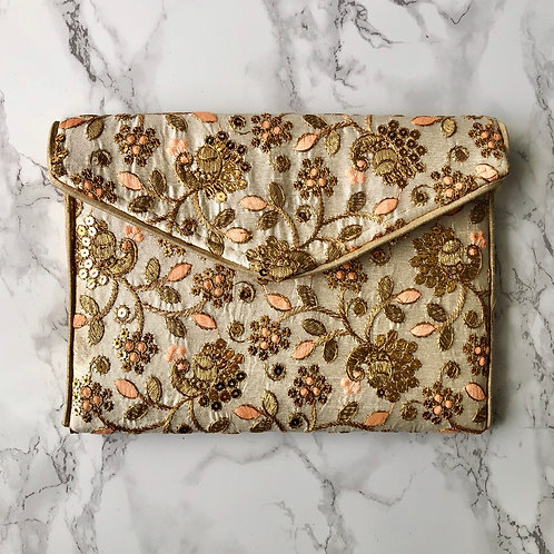GOLD / PEACH FLORAL EMBROIDERED BAG