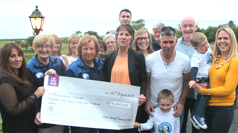 A huge THANKS to Mary Lynch and everyone involved for helping to raise €18,100 for Recovery Haven Kerry at the recent walk in memory of Jamie Wrenn and Mike Deane. A cheque presentation was held on Saturday evening at Fitzgeralds Junction Bar in Camp!