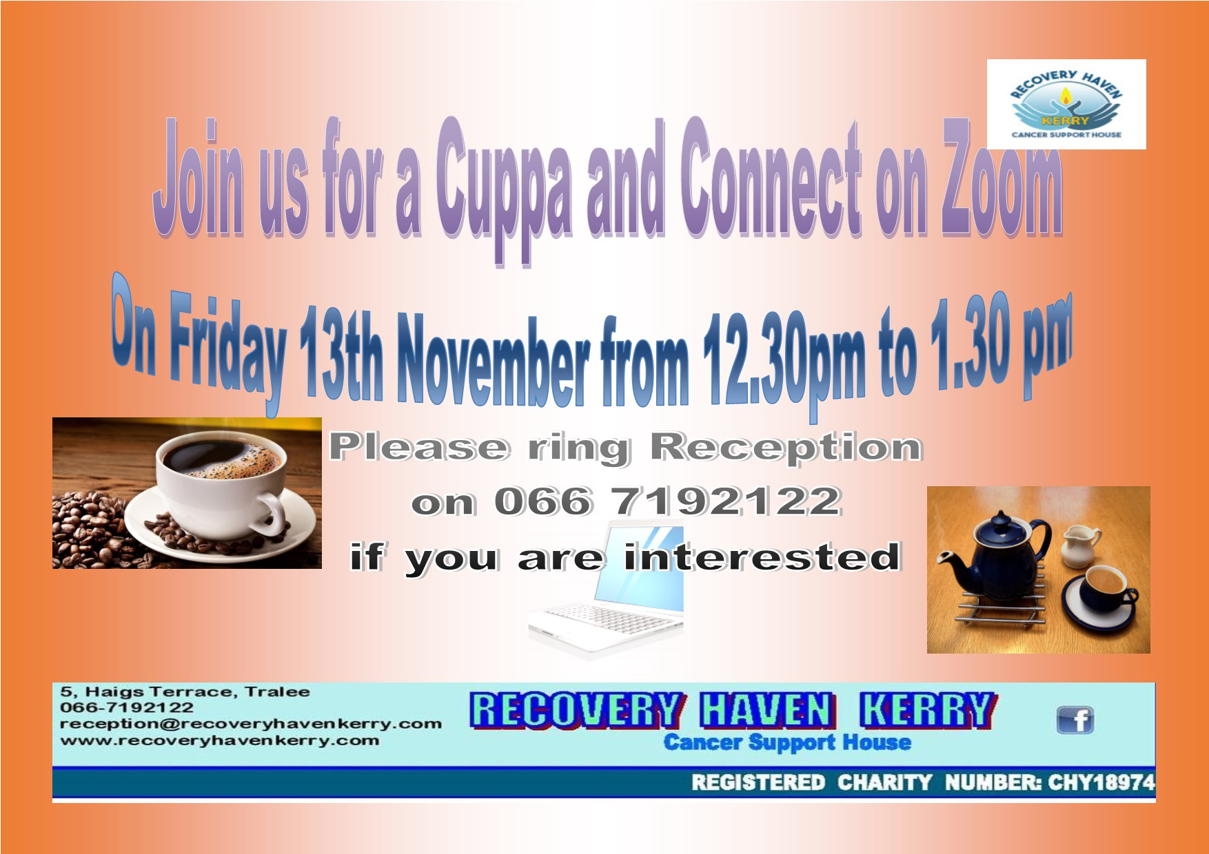 Cuppa and Connect Friday 13th Nov at 12.