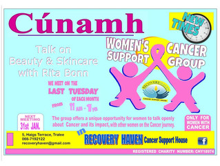 Our Womens Cancer Support Group (Cunamh) will have a talk on Skincare and Beauty with Beautician Rit