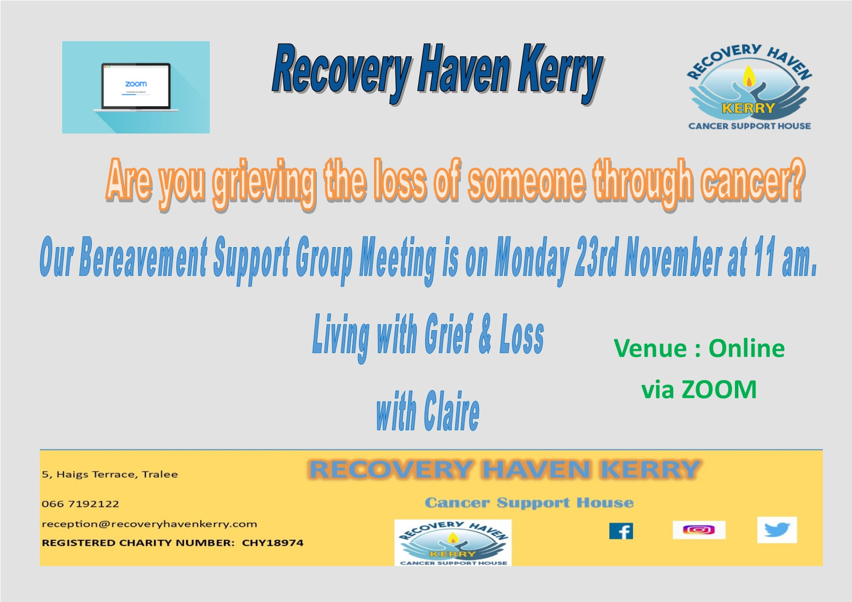 Bereavement Support Meeting on Zoom