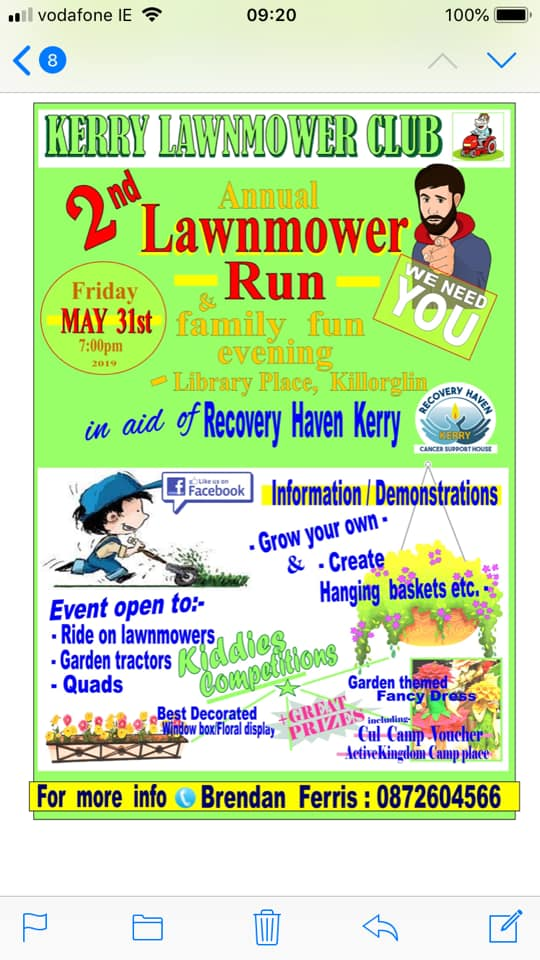 Lawn mower Run May 31st