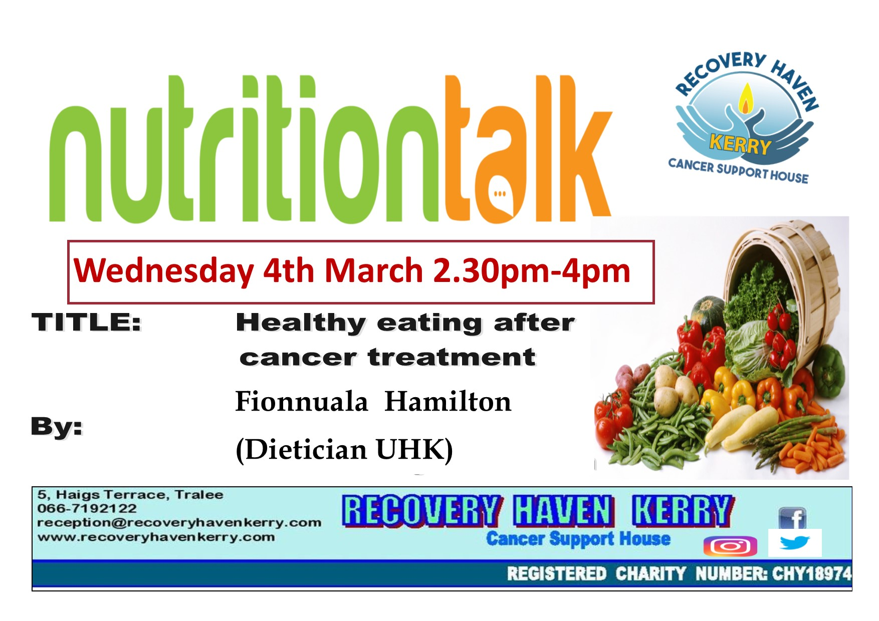 Nutrition talk Wednesday 4th March at 2.