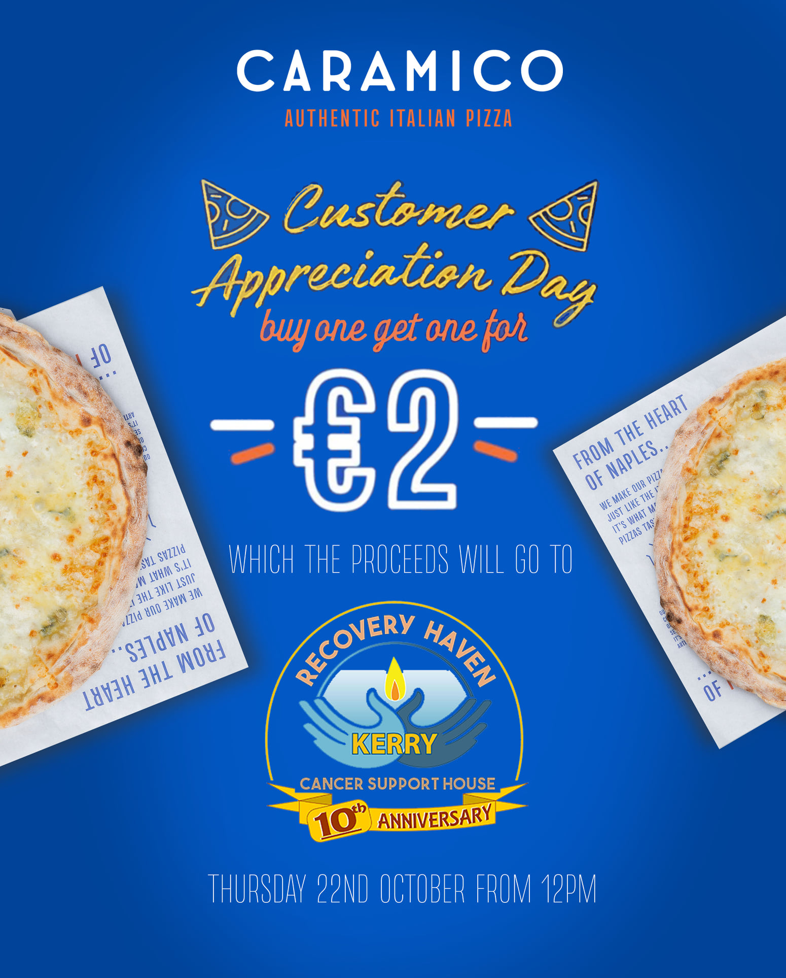 Buy one Pizza get second one for 2 euro
