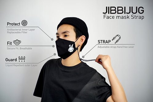 Reusable Face Mask strap with Filter Pocket & Strap - JIBBIJUG LOGO
