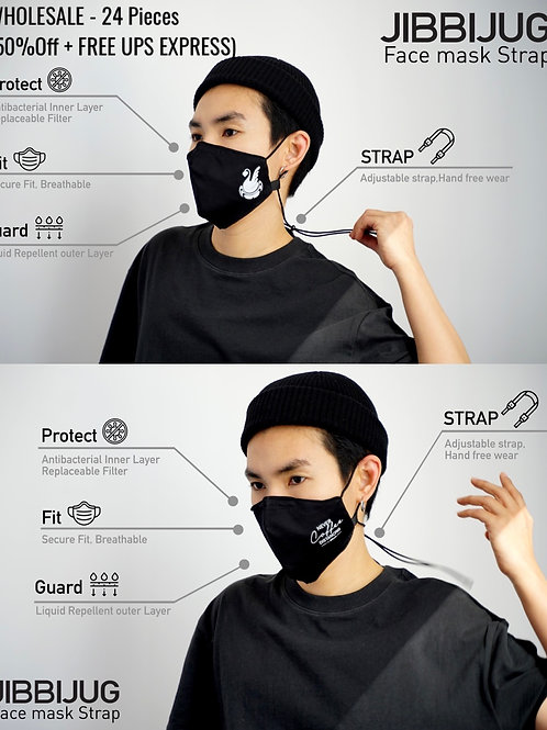 24  Reusable Face Mask strap with Filter Pocket & Strap-Wholesale