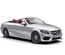 Mercedes C kabriolet, 2 drzwi, 4 miejsca, radio, klimatyzacja, automatyczna skrzynia biegów