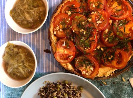 Zomer groente amandeldeeg taart - hartig
