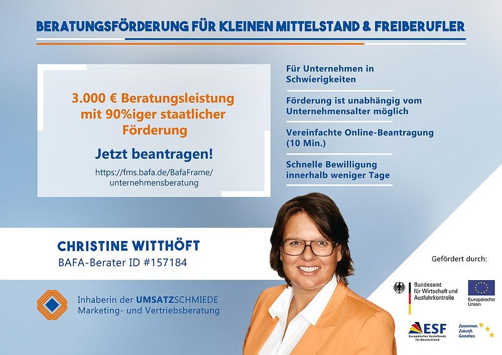 BAFA Beratungsfoerderung staatliche Foerderung UMSATZSCHMIEDE Marketingberatung Vertriebsberatung Christine Witthoeft