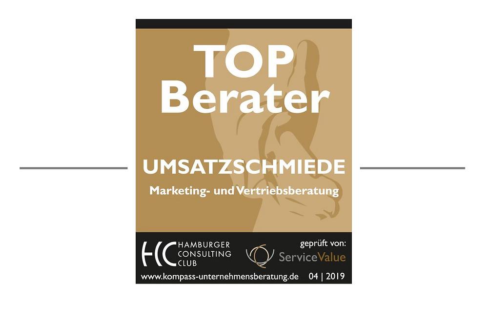 TOP Berater Goldsiegel Hamburger Consulting Club für UMSATZSCHMIEDE Christine Witthöft Hamburg Berlin Marketingberatung Vertriebsberatung