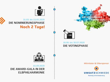 Metropolitaner Award 2020: Nominierungsphase endet in 2 Tagen!