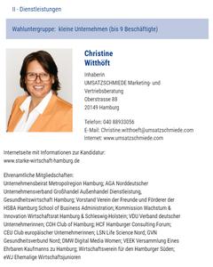 Handelskammerwahl Hamburg Kandidatenprofile 2020 Christine Witthöft UMSATZSCHMIEDE Marketingberatung Vertriebsberatung