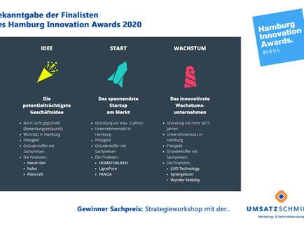 Bekanntgabe der Finalisten für den Hamburg Innovation Award 2020