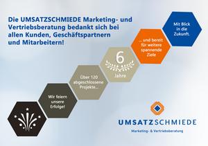 6 Jahre UMSATZSCHMIEDE Marketingberatung Vertriebsberatung Hamburg Berlin Christine Witthöft Jubiläum BAFA Beratung Hamburg Berlin