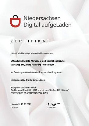 Digital aufgeLaden Niedersachsen Zertifikat UMSATZSCHMIEDE Marketing- und Vertriebsberatun