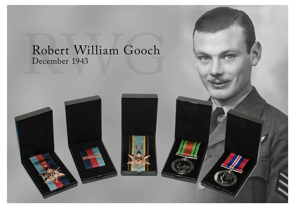 Here you can see my long lost Uncles photograph be restored and added to a graphic showing off his medals