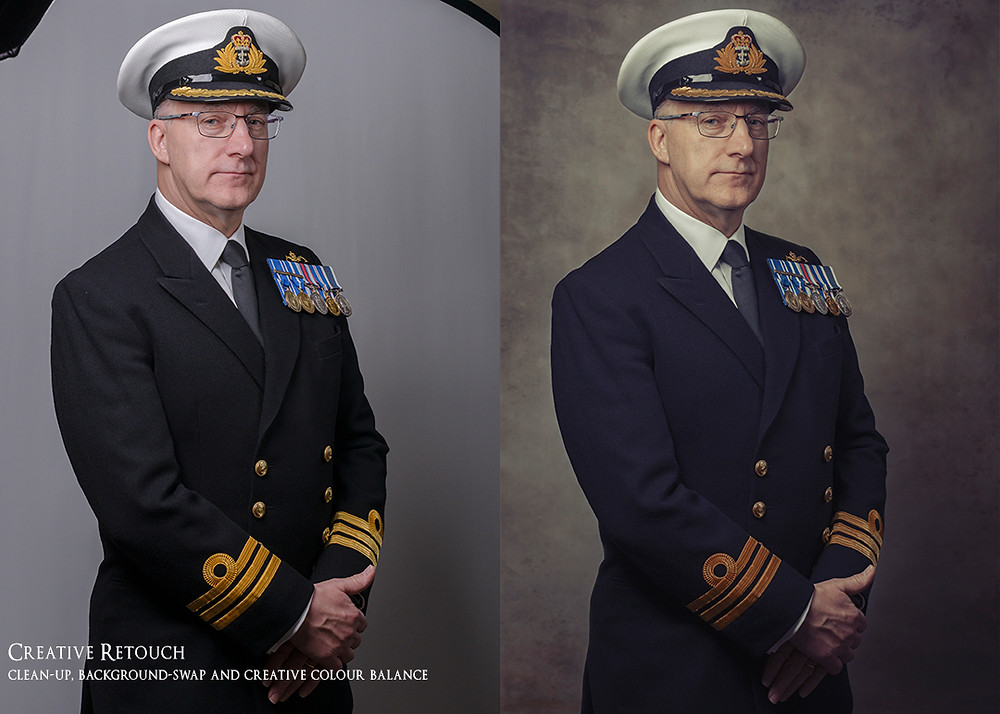 Here you see the Commander receive a Creative retouch to emulate the old military portraits of old and bringing it up to a modern day contemporary portrait style