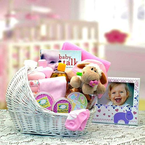 Baby Girl Bassinet Gift Basket With Darling New Baby Girl Gifts