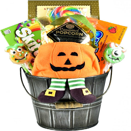 Jack-O-Lantern Treats & Gifts, Halloween Gift Basket For Kids