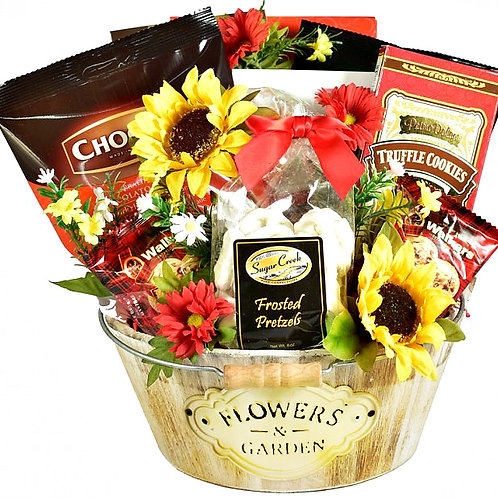 Rustic Charm Wooden Planter Gift Basket With Gifts